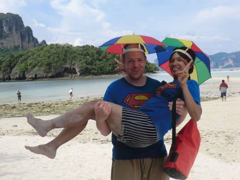 Chris carrying Saengduan on Koh Lipe